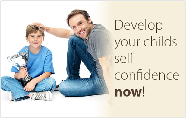 "A father and son sitting down on the floor with the words ""Develop your child's self-confidence now"" next to them 3"
