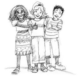 A drawing of three kids, standing together, happy