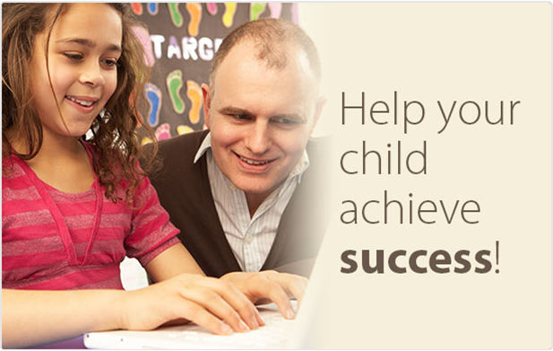 "A father and daughter sitting together at a computer with the words ""Help your child achieve success"" next to them 4"
