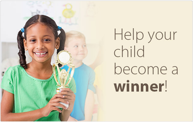 "An image with a young girl holding a trophy, with the words saying ""Help your child become a winner"" next to her"